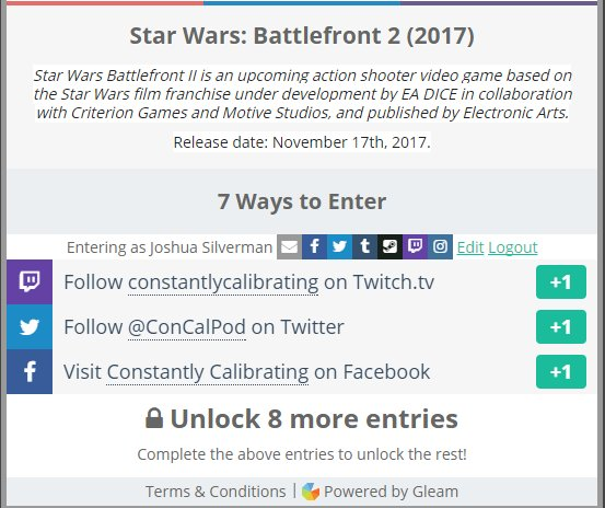 We&#39;re celebrating #StarWars40 by giving away a copy of #Battlefront2 (at release). Check the link for more details.  https:// gleam.io/ckWh8/constant ly-calibratings-starwars40-giveaway-battlefront-2-2017 &nbsp; …  <br>http://pic.twitter.com/LZVayUxAiV