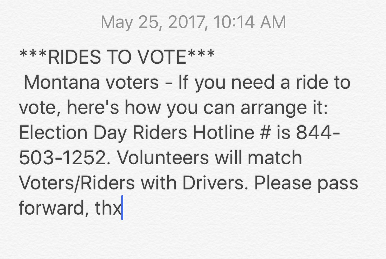 RT @Alyssa_Milano: MONTANA! If you need a ride to vote please call hotline below and someone will pick you up! https://t.co/jpYl7tIfYk