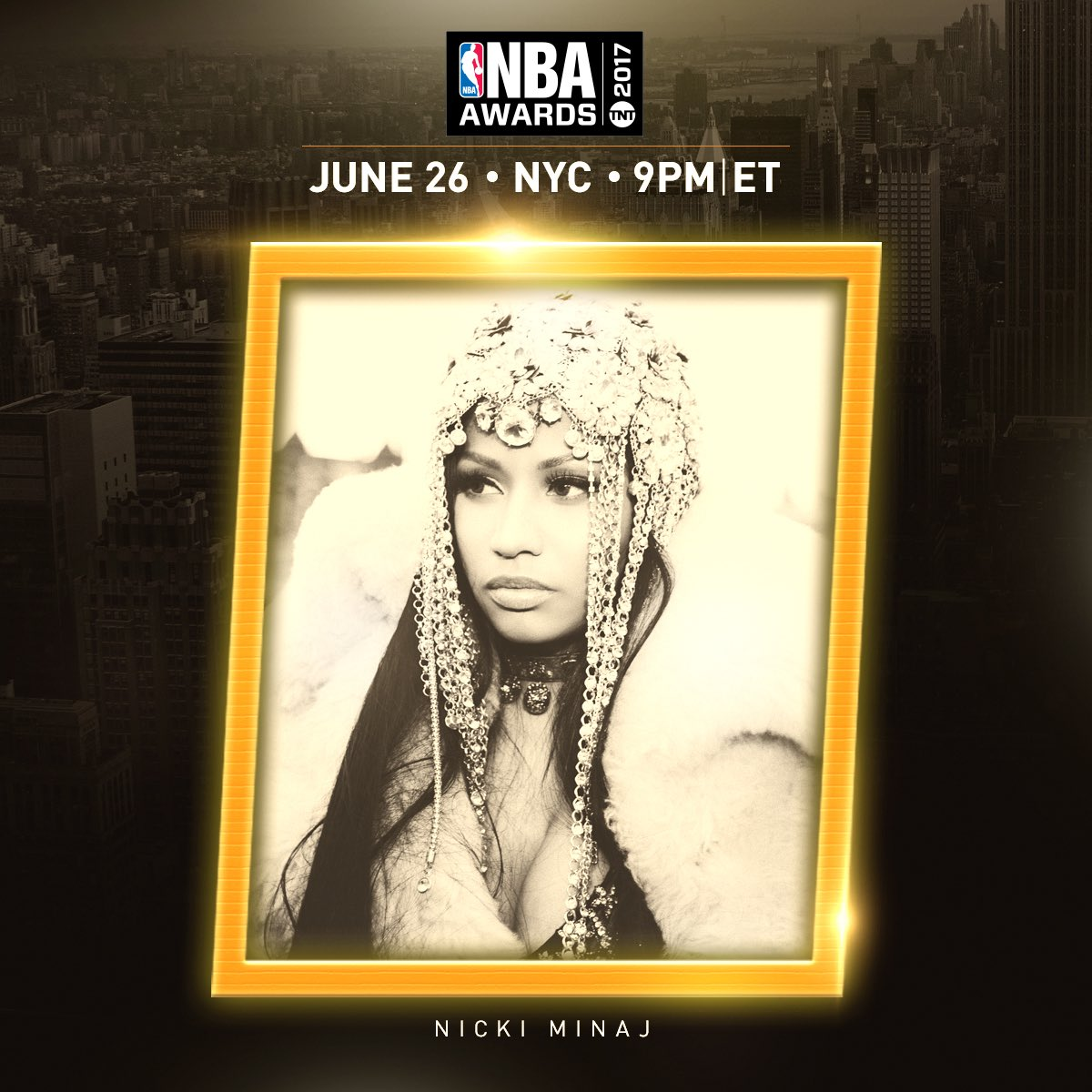 Performing @ the 1st ever #NBAAwards, hosted by Drake ~ June 26th on TNT 🏀 #SwishSwishBish