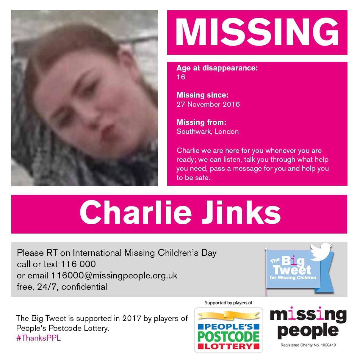Today we&#39;re supporting #TeamBigTweet with @missingpeople  for International Missing Children&#39;s Day.  #Charlie #1community #247Volunteers<br>http://pic.twitter.com/qT2pEz5iJL