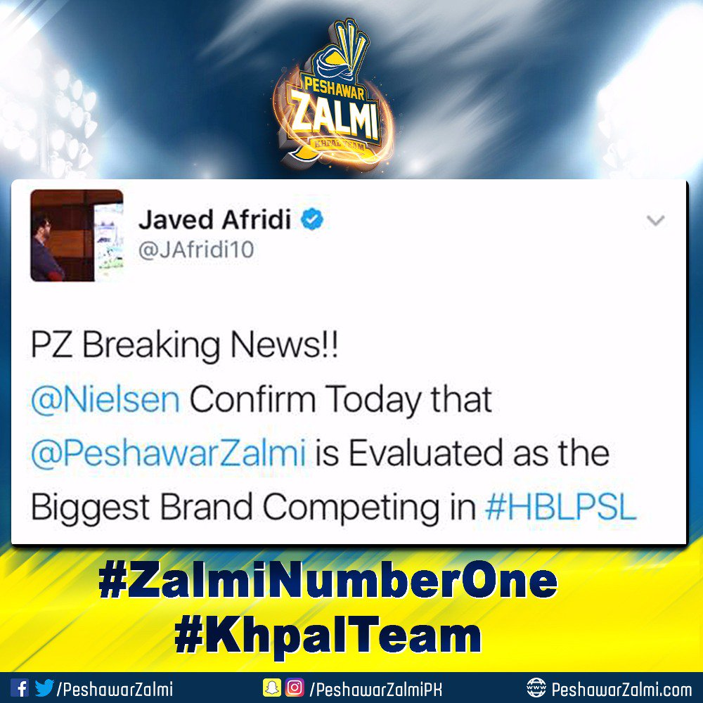 test Twitter Media - KhpalFans we are Celebrating our #ZalmiNumberOne status as the most popular team & biggest brand of PSL by US company Nielsen Sports. https://t.co/b38Q5qFGPs