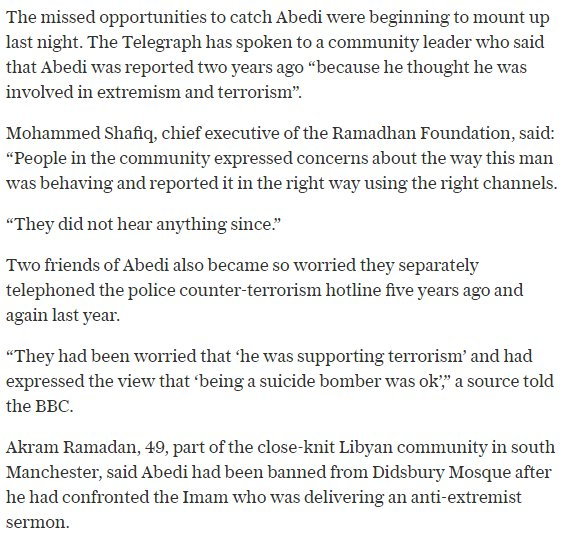 &quot;Why don&#39;t Muslims do something?&quot; Turns out several in the community called the cops on #Manchester attacker before.  http://www. telegraph.co.uk/news/2017/05/2 4/security-services-missed-five-opportunities-stop-manchester/?utm_source=dlvr.it&amp;utm_medium=twitter &nbsp; … <br>http://pic.twitter.com/dEhQejsOhj