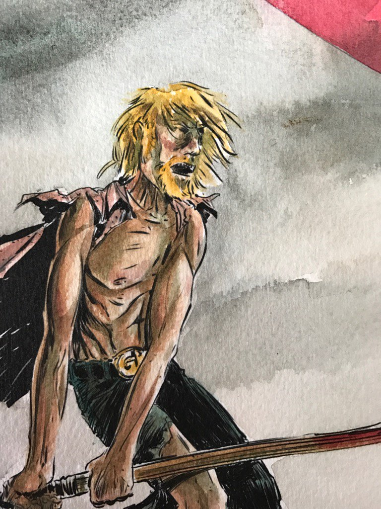 Grass Kings variant cover work-in-progress. #watercolor #gauche #conan<br>http://pic.twitter.com/BBzVl2BQ0s