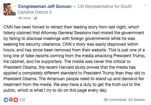No, @RepJeffDuncan. We did not retract or backtrack on our story. We stand by our reporting. Those are the facts. https://t.co/3i5AvfLxt8