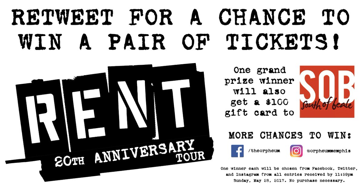 Reweet for a chance to win tickets to @RentOnTour! Details at https://t.co/BMbOk5VuPB. #RENTinMEM https://t.co/F8DSdciN4b