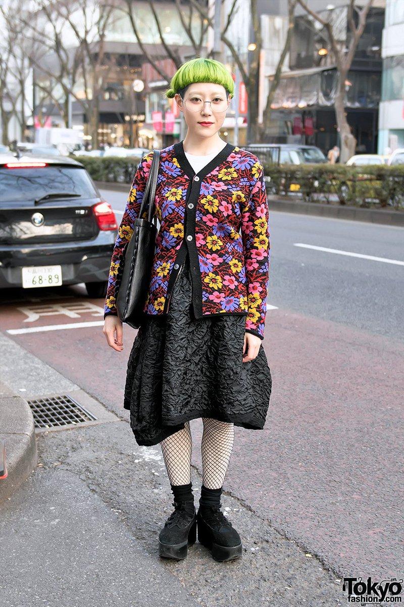 fcf7d695ebe3 japanese designer in harajuku w comme des garcons floral top amp skirt tokyo  bopper platforms amp