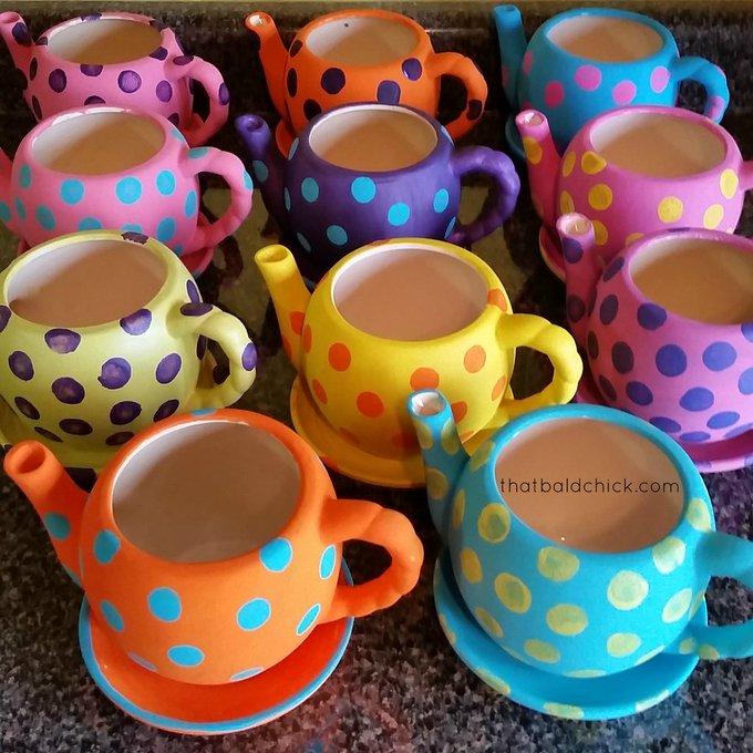 DIY Polka Dot Teapot Planters