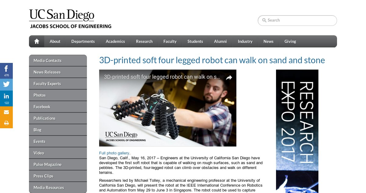3D-printed soft robot walks on sand &amp; stone #thisisDoDscience  @UCSDJacobs @USNavyResearch  http:// jacobsschool.ucsd.edu/news/news_rele ases/release.sfe?id=2211 &nbsp; … <br>http://pic.twitter.com/zZcYHOjqfN