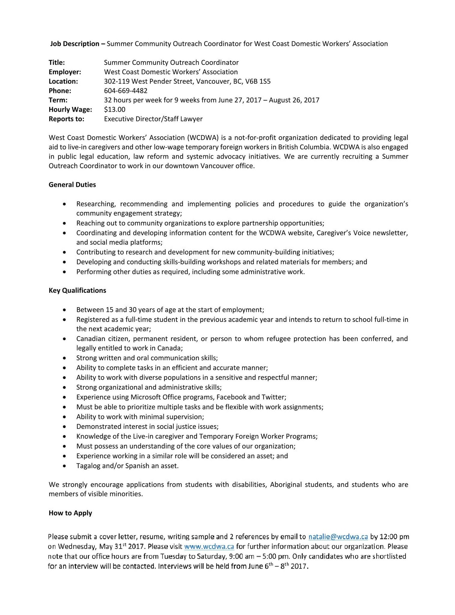 Community Outreach Coordinator Cover Letter