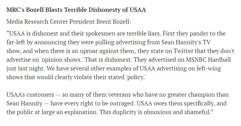Please read my full statement blasting the terrible dishonesty of USAA in dropping their ads from @seanhannity. https://t.co/oMTDIni1H3