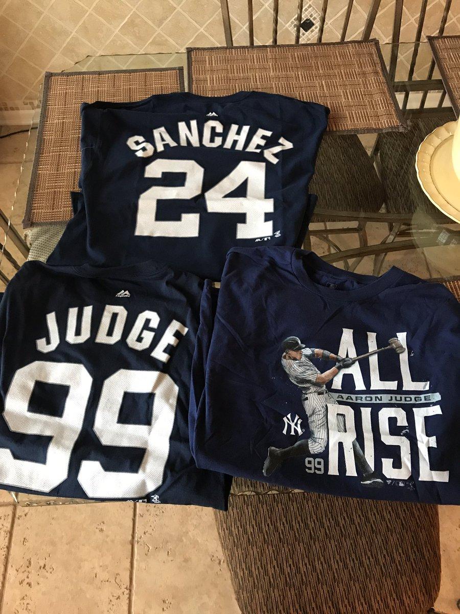 My new #Yankees shirts came in!! #Sanchez #ElKraken #YoSoyGary #Judge #AllRise #JudgementDay<br>http://pic.twitter.com/MCbGChGYQN