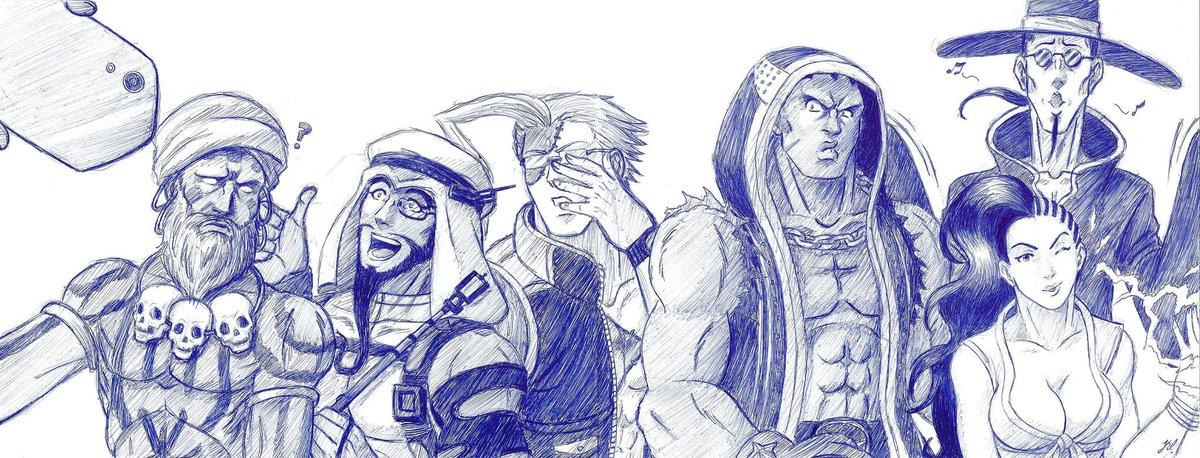 #SFV characters. Pen.  #Capcom #Dhalsim #Rashid #Charlie #Nash #Balrog #Bison #Laura #Fang<br>http://pic.twitter.com/p387jsb36Z
