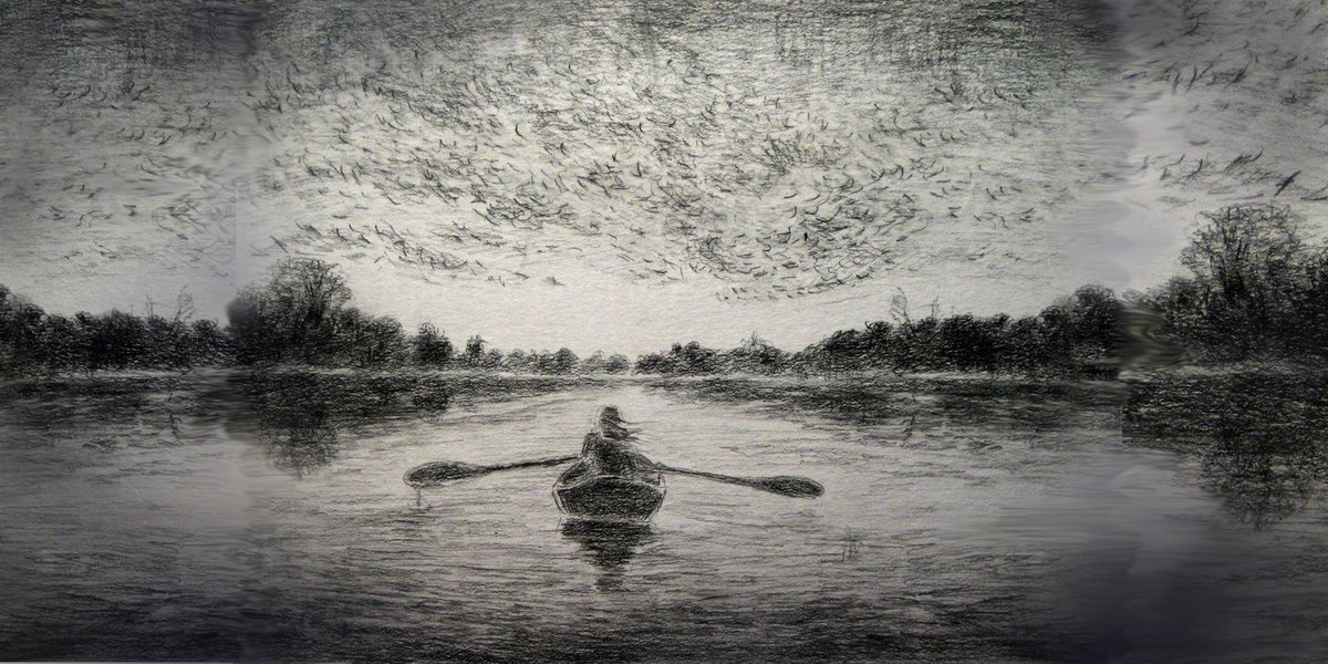 Murmuration on the Water Sketch  http:// ow.ly/95dP308e564  &nbsp;   Imaginary bird murmuration sketch #graphite #pencil #drawing #art<br>http://pic.twitter.com/bfUy6OGtQg