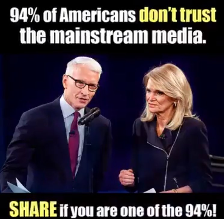 94% of Americans Don\'t Trust the Media.  Retweet if you agree.