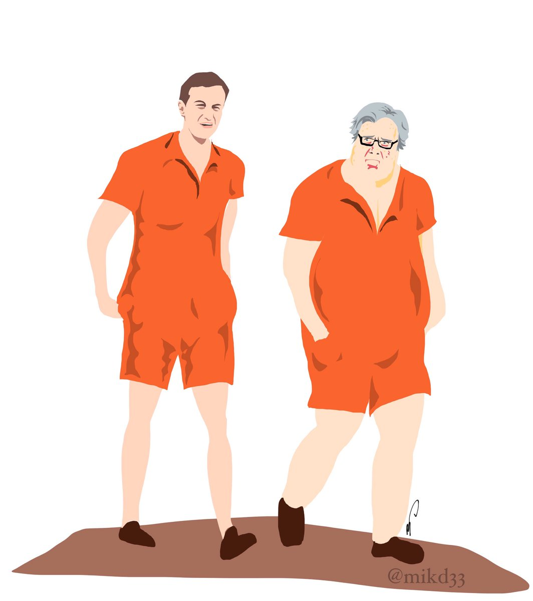 Jared Kushner & Steve Bannon in their new rompers down by the prison yard