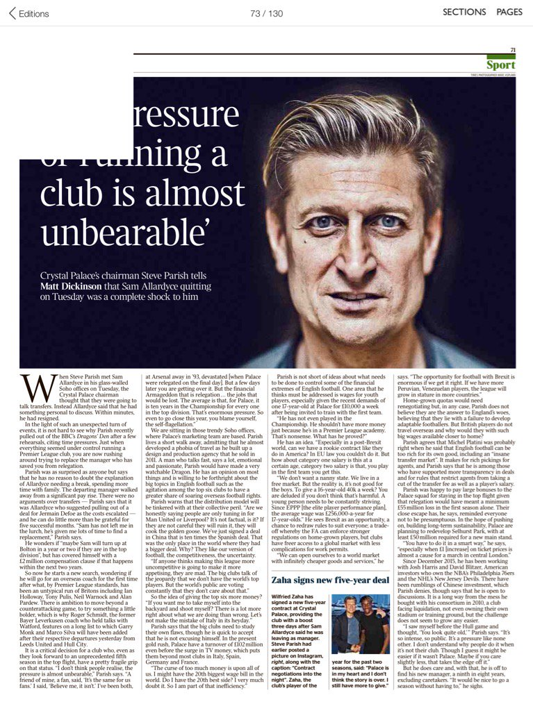 Parish in London Times -the pressure of running #cpfc is almost unbearable <br>http://pic.twitter.com/JxuapvEXr2