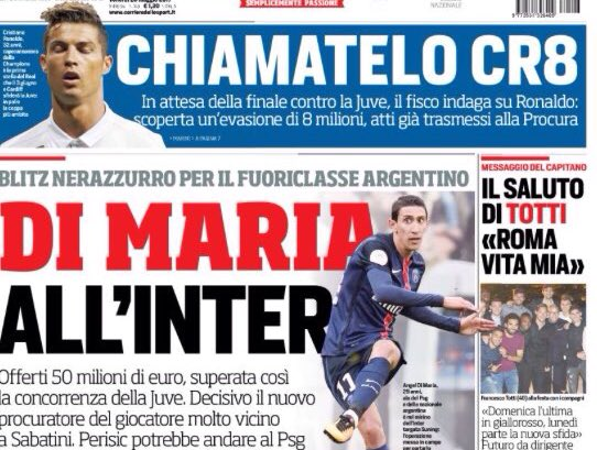 #Inter to &quot;overtake&quot; #Juventus in battle for Angel #DiMaria with €50m offer to #PSG (CdS)<br>http://pic.twitter.com/ljlrfpX20Q