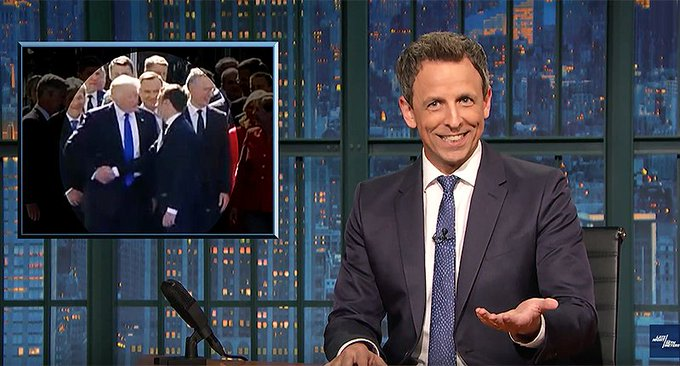 Watch @sethmeyers' hilarious smackdown: 'If you get a body part close to Trump he thinks it's a gift' https://t.co/JiaEH0EPlO