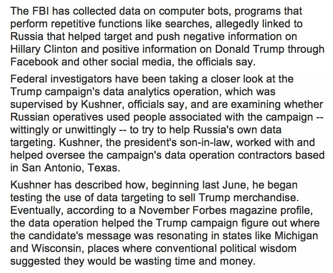 This is Mueller's most plausible kill shot: connecting Russia's fake news distribution to Kushner's data operation. https://t.co/6sBCSeEmiA