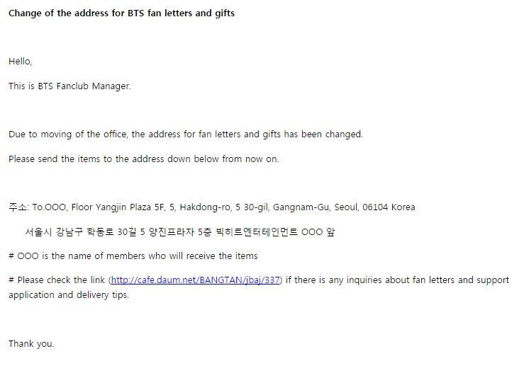jungkook updates on twitter notice change of address for sending