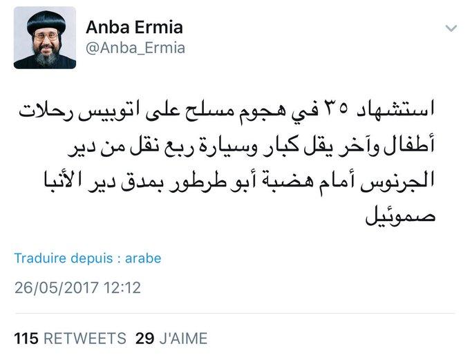 L'évêque copte @Anba_Ermia indique que le bilan des attaques contre les coptes est de 35 morts #Egypte