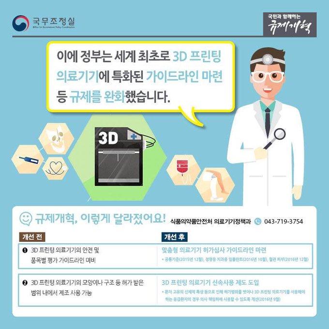 < 의료#3D프린팅기기 규제완화!💫> 3D프린팅은 임플란트, 인공뼈 등 인공보형물을 제작하여 의료분야에서 많은 관심을 받고 있는데요~👀 세계 최초로 3D프린팅 의료기기에 특화된 가이드라인을 마련하여 규제를 완화하였습니다😀카드뉴스로 자세히 보실까요~?💡