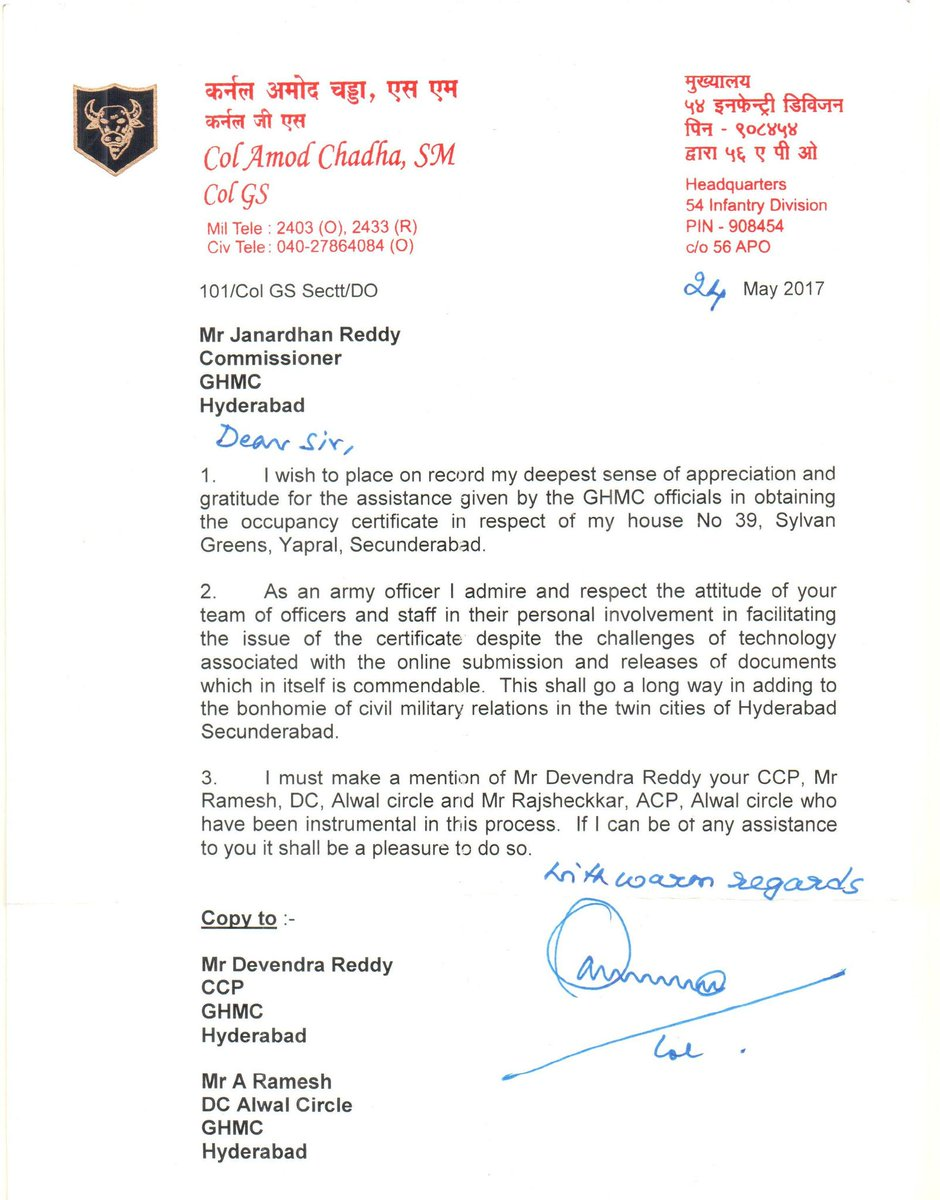 Ghmc on twitter letter of appreciation from col amol chadha to ghmc on twitter letter of appreciation from col amol chadha to commissionrghmc ccpghmc dcalwal and acp for quick response by ghmc in issuance of oc spiritdancerdesigns Image collections