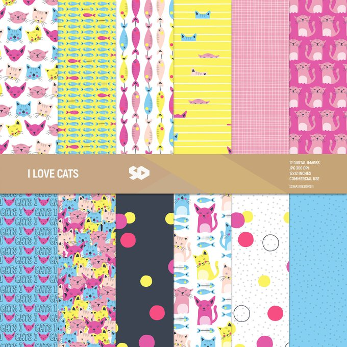Cats digital paper pack, cat scrapbook pages, patterns, fish, cats and fish, pop art, popart, background, instant download, COMMERCIAL USE.
