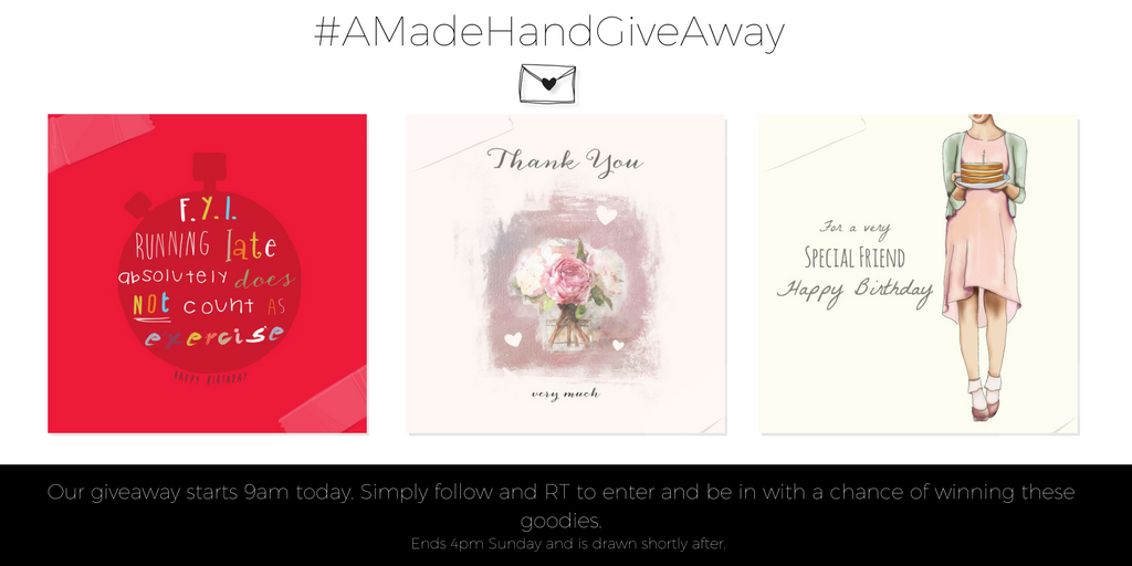 Follow&amp;RT to enter our competition and win these greeting cards. #AMadeHandGiveAway #free #win #greetingcards <br>http://pic.twitter.com/eUfyaBgjQ7