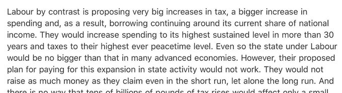 Breaking: IFS say Labour will increase taxes to their 'highest ever peacetime level' to fund their manifesto. Devastating verdict.