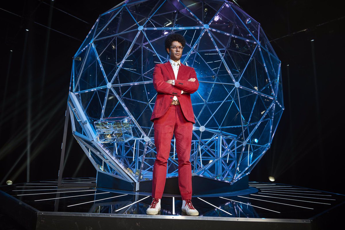 First picture of Richard Ayoade as host of The Crystal Maze on Channel 4. Show launches in June.