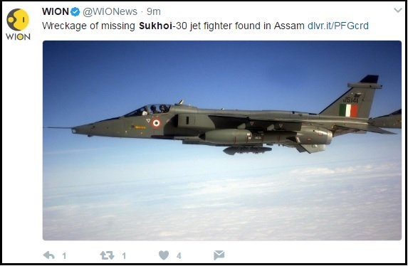 Hi @WIONews, that isn\'t a Sukhoi-30, that\'s a Jaguar.