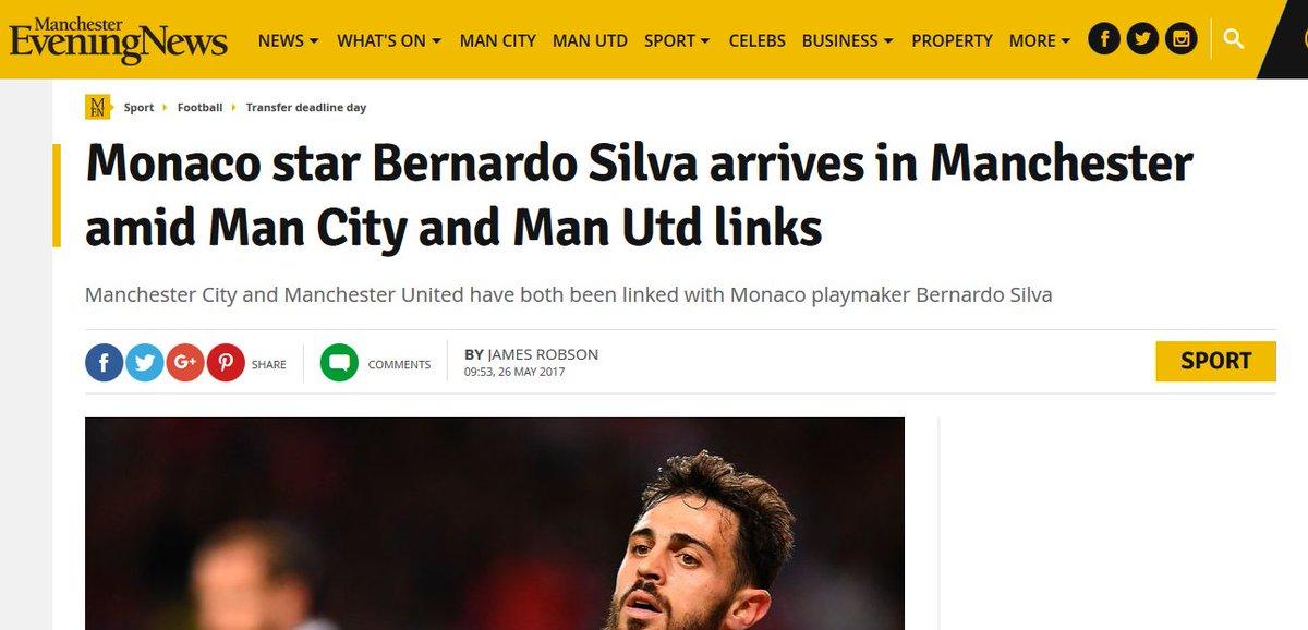 Bernardo #Silva serait actuellement à #Manchester selon M.E.N.  #ManCIty favori pour accueilli le joueur de #Monaco. #ManUtd à l'affut pic.twitter.com/YpH2hvnST7