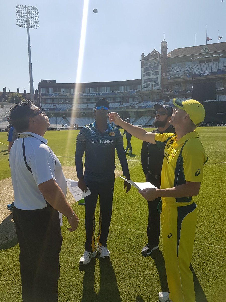 test Twitter Media - News from the toss for the first warm up! Australia win the toss and bowl! #CT17 #AusvSL https://t.co/lbAtpAyuob