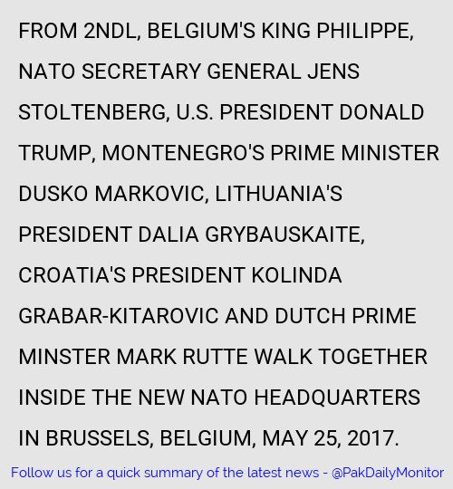 Trump shoves fellow NATO leader aside on his first summit #JensStoltenberg #Philippe #Belgium #NATO   https:// tribune.com.pk/story/1419877/ trump-shoves-fellow-nato-leader-aside-first-summit/ &nbsp; … <br>http://pic.twitter.com/hMMtSU5eCb