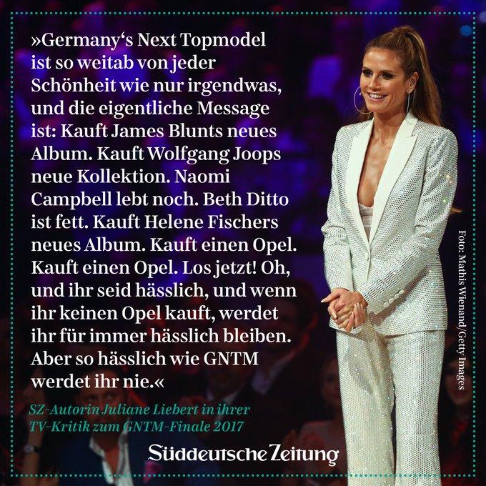 Heidi Klum kürt 'Germany's Next @topmodel ' - dabei ist die Show so weitab von jeder Schönheit wie nur irgendwas https://t.co/1thGUAHsAv