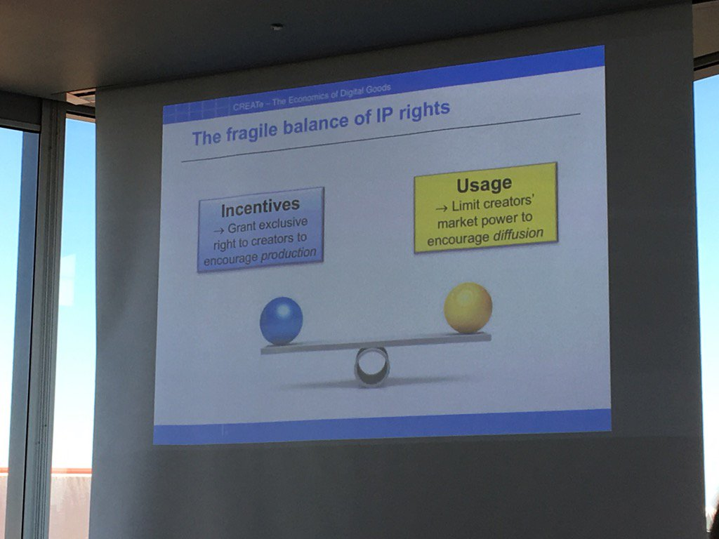 Nice slide demonstrating balance of #IP rights by @PaulBelleflamme #createcin https://t.co/nNrLanp5oW