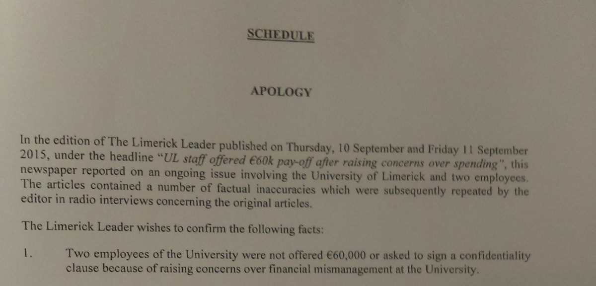 To think that #UL sought this front page apology and retraction over our original article, via Arthur Cox solicitors...#RTEInvestigates<br>http://pic.twitter.com/jBvLLOfCCI