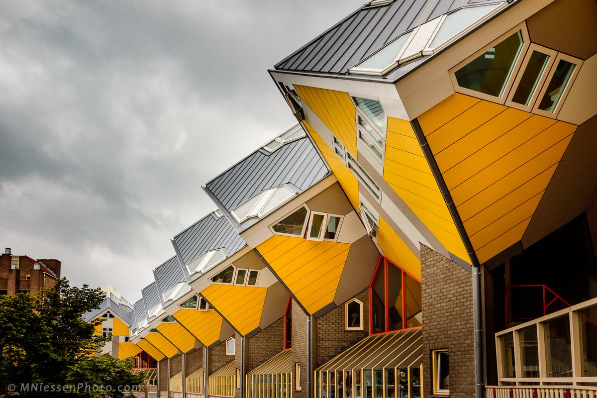 The lovely #cube #houses in #Rotterdam, #Netherlands, designed by architect Piet Blom. ___________ #architecture #travel #city #urban <br>http://pic.twitter.com/SeHKAxOvdn