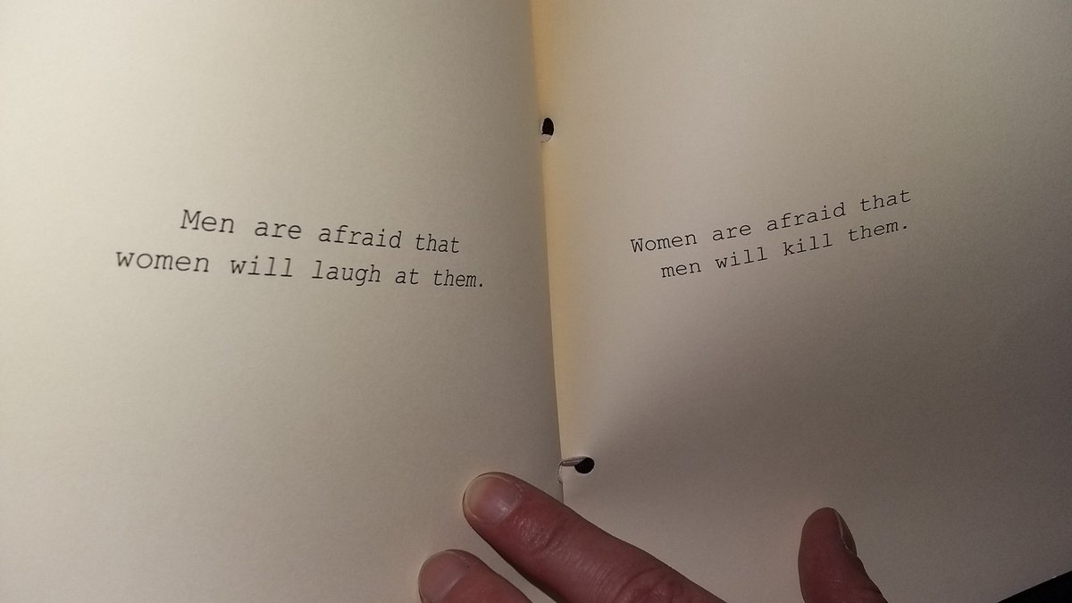 Men are afraid women will laugh at them. Women are afraid men will kill them