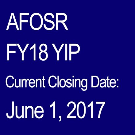 #AirForce FY18 YIP proposals are due by Thursday, 01 Jun 2017 at 11:59 PM EDT  https://www. grants.gov/web/grants/vie w-opportunity.html?oppId=292986 &nbsp; …  #BasicResearch #AFOSRYIP @grantsdotgov<br>http://pic.twitter.com/lLNjBmajzo