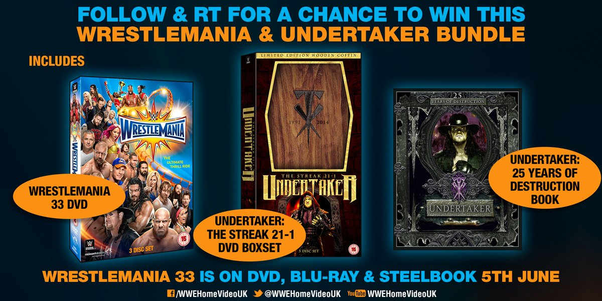 Don't forget - we've tag teamed with @dkbooks on this epic #WrestleMania + Taker prize bundle! FOLLOW & RT for a chance to win!  *Ends 5 Jun pic.twitter.com/Aehr0KYFmo
