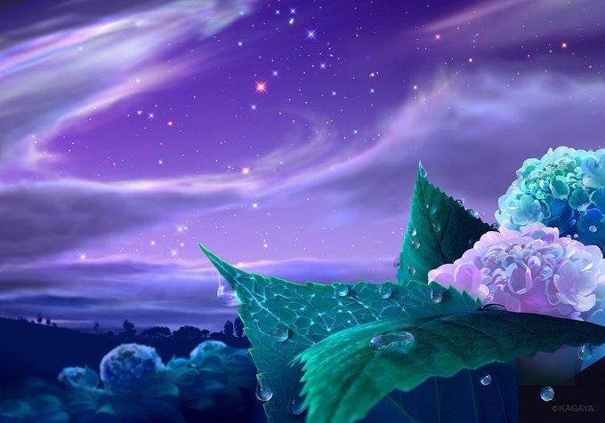 【6月のお勧め天文現象】全て肉眼でOK ▶6/4 月と木星、スピカが近づいて見える ▶6/9 満月 ▶6/10-13宵に宇宙ステーションが見える ▶6/21明け方 細い月と金星が並ぶ 以前描いたイラスト「紫陽花」(画集「ステラメモリーズ」に収録)