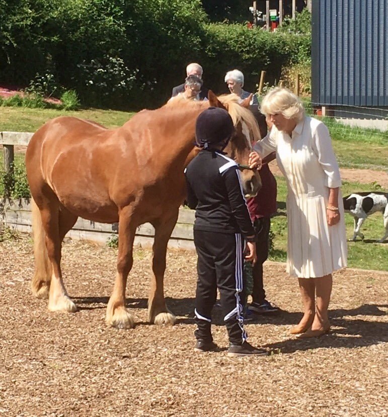 The Duchess of Cornwall visited @JamiesFarm in Herefordshire this morning to learn about the charity's work with young people.