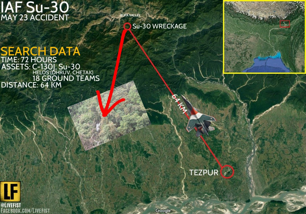 Where the wreckage of the missing IAF Su-30 fighter jet was found today. / via @Livefist