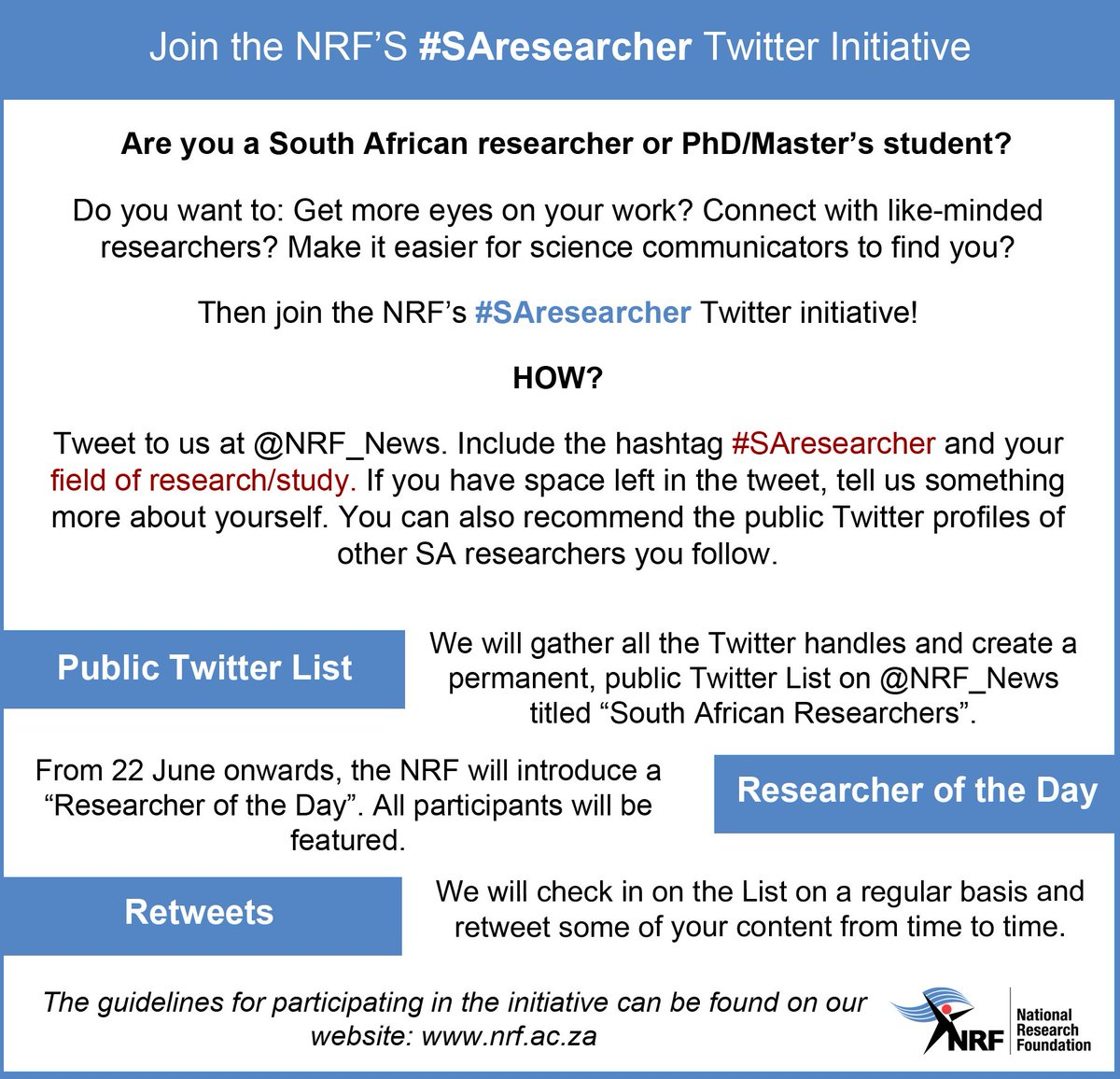 Join your community of fellow researchers with our #SAresearcher initiative. #PhD &amp; #Master&#39;s included.Details here:  http:// bit.ly/2rT8hJj  &nbsp;  <br>http://pic.twitter.com/Sc5lTIyGVu