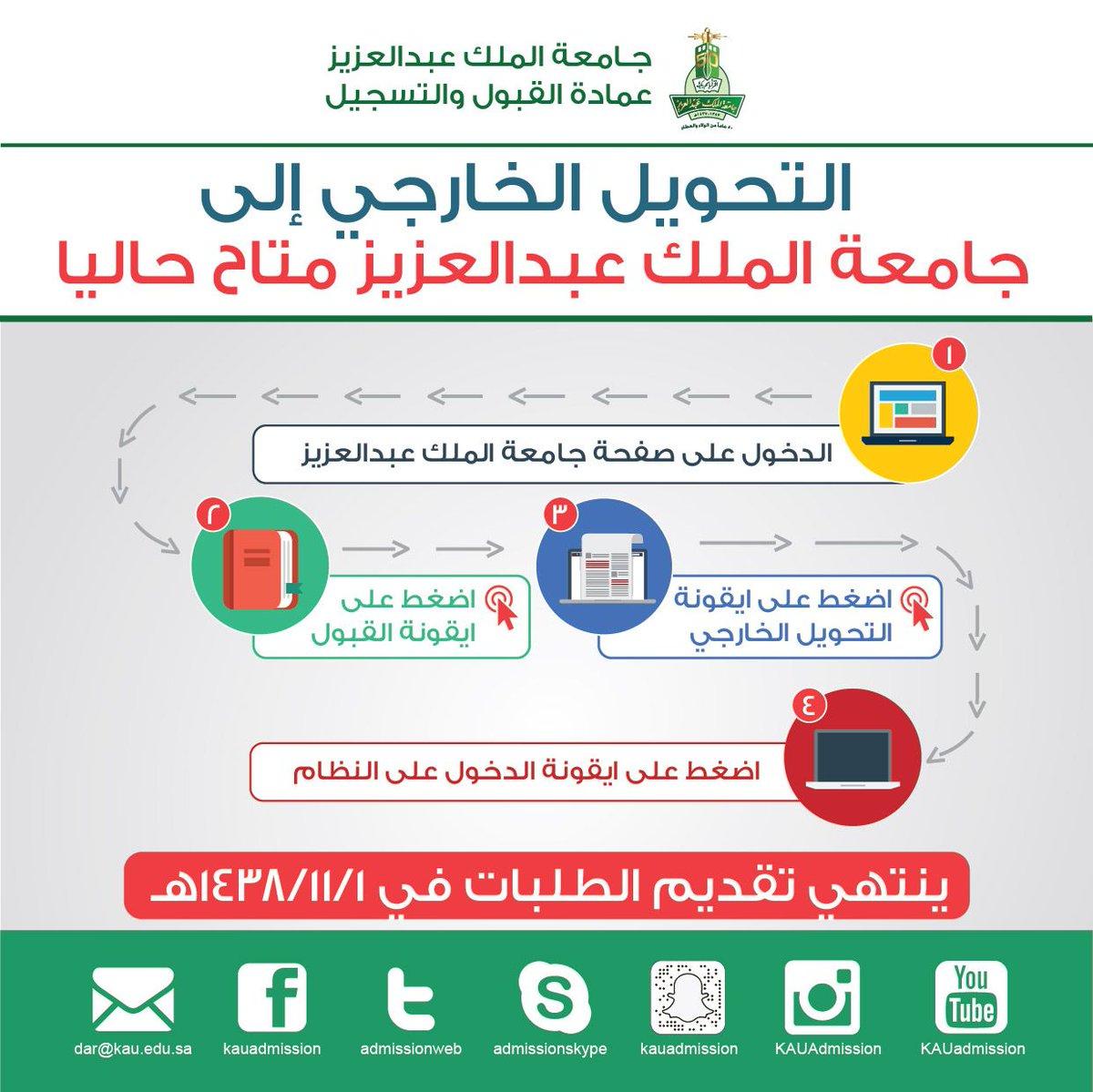 عمادة القبول والتسجيل Kau V Twitter التحويل الخارجي إلى جامعة الملك عبدالعزيز متاح حاليا على الرابط التالي Https T Co Cpt0fwgnwn ملاحظة التحويل للسعوديين فقط Https T Co L2tzy0pwhx