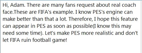 @Adam_Bhatti  Hi, Adam.  Here is a request for #pes2018 and future PES series. Hope this feature can appear as soon as possible. <br>http://pic.twitter.com/bjZ03emcIG