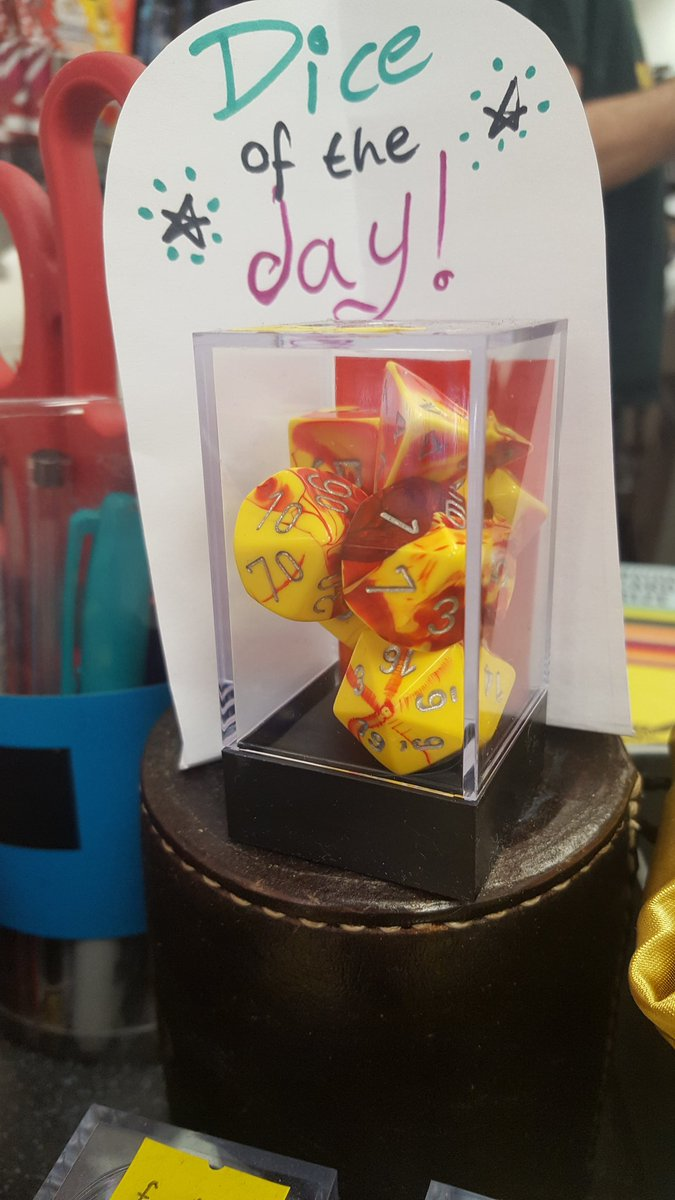 Flaming hot #dice for a flaming hot day! #diceoftheday are these scorching hot numbers, red and yellow with silver. #d20 #dnd #pathfinder<br>http://pic.twitter.com/aHjylfvSUl