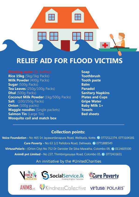 For anyone looking to donate dry rations and essential items for #FloodSL victims - https://t.co/y67BHmy9r5